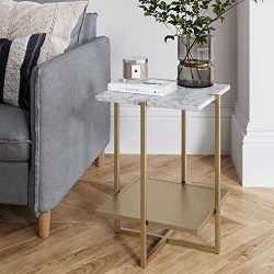Nathan James 32603 Myles Nightstand Marble Side Table, White/Gold