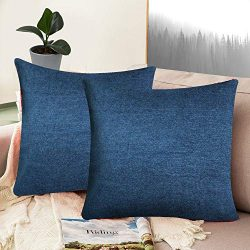 Whiteibis Polyester Cotton Soft Solid Decorative Square Throw Pillow Covers Set, Cushion Cases,  ...