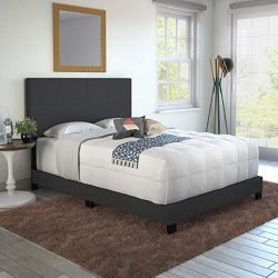 Boyd Sleep Montana Upholstered Platform Bed Frame with Headboard: Linen, Charcoal, Full