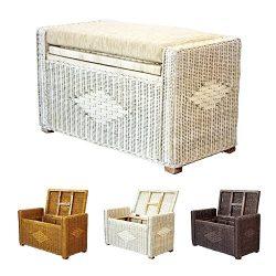 Bruno Handmade 32 Inch Rattan Wicker Chest Storage Trunk Organizer Ottoman W/Cushion White Wash