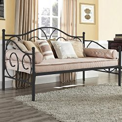 Daybed Frame Twin Metal Day Bed Heavy Duty Steel Slats for Living Room Guest Room Mattress not I ...