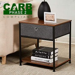 RHF Rustic Nightstand, CARB P2 Certificated, Wood Nightstand, Metal Nightstand, Industrial Night ...