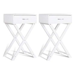 Giantex Set of 2 Nightstand End Table X-Shape Living Room Bedroom Accent Furniture Sofa Side Tab ...
