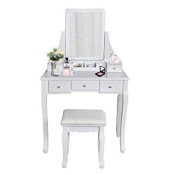Vanity Table Set Square Mirror with 4 Removable Dividers, Dressing Table Vanity Makeup Table Cus ...