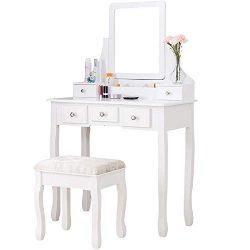Mecor Makeup Vanity Table Set, Dressing Table w/Square Mirror Women Girls Vanity Set with Cushio ...