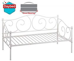 Daybed Frame Twin Metal Daybed Platform Bed Frame Heavy Duty Steel Slats Living Guest Room and C ...