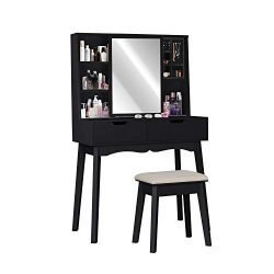 Vanity Table Set with Mirror and Makeup Organizer Dressing Table,2 Large Drawers with Sliding Ra ...