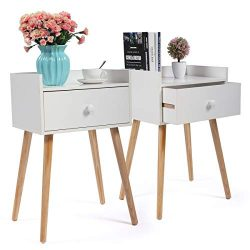 Set of 2 White Bed Side End Table Solid Wood Legs Nightstand W/Drawer