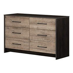 South Shore 12229 Londen 6-Drawer Double Dresser, Weathered Oak and Ebony