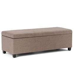 Simpli Home AXCF18-BRL Avalon 48 inch Wide Contemporary  Storage Ottoman in Fawn Brown Linen Loo ...