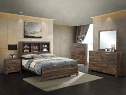 GTU Furniture Contemporary Bookcase headboard Bedroom Set (Brown) (Queen Size Bed, 5 Pc)