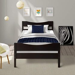 Merax WF034134PAA Wood Platform Bed Frame with Headboard/No Box Spring Needed/Wooden Slat Suppor ...