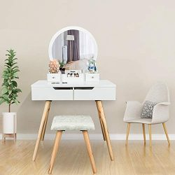 Bonnlo Vanity Table Set with Round Mirror for Girls White Bedroom Dressing Table with Vanity Sto ...