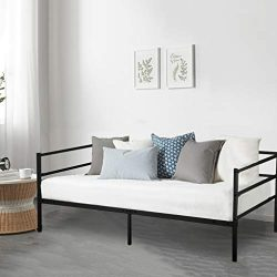 BestMassage Daybed Frame Metal Mattress Foundation Twin with Heavy Duty Steel Slats Box Spring R ...