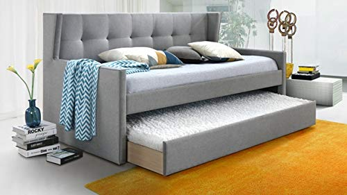 Grey Fabric Twin Daybed with Trundle