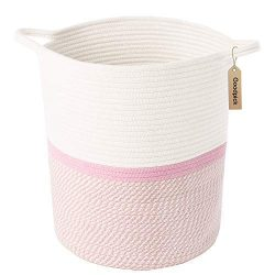 INDRESSME Cotton Rope Basket Pink for Baby Nursery Room | Cute Kids Laundry Hamper | Blanket Bas ...