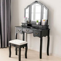 Mecor Makeup Vanity Table w/Tri-Folding Mirror, Wood Dressing Table Bedroom Vanity Set w/Cushion ...