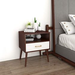 Lifewit Nightstand with 1 Fabric Drawer, Bedside Table Bedroom Side Table, Partical Board and Wo ...