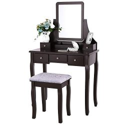 BEWISHOME Vanity Set with Mirror & Cushioned Stool Dressing Table Vanity Makeup Table 5 Draw ...
