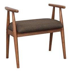 VASAGLE Shoe Bench, Upholstered Vanity Stool with Armrests, Solid Rubberwood Frame, Load Capacit ...