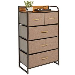 mDesign Tall Dresser Storage Chest – Sturdy Steel Frame, Wood Top, Easy Pull Fabric Bins & ...