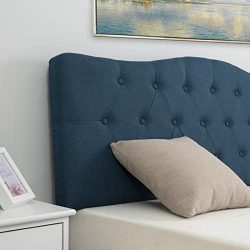 LAGRIMA Tufted Upholstered Linen Full/Queen Size Headboard with Curved Shape in Blue Fabric Adju ...