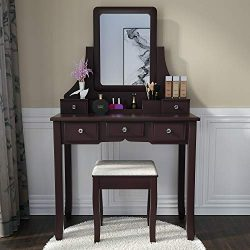 Amooly Vanity Set with Mirror,5 Sliding Drawers, Removable Makeup Organizer,Cushioned Stool Dres ...