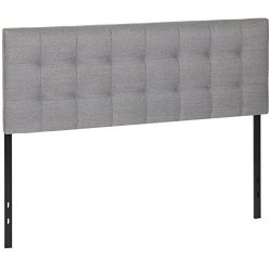 Best Choice Products Upholstered Tufted Fabric Queen Headboard – Gray