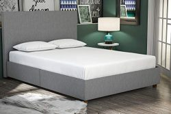 DHP Alexander Upholstered Platform Bed Frame, Light Grey Linen, Full