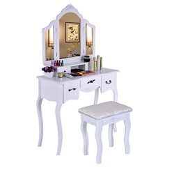 Vanity Set with Mirror, Jewelry Cabinet / Jewelry Armoire, Makeup Organizer, Cushioned Stool, 3  ...