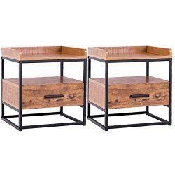 Giantex Side Table Two Tiers End Table W/Drawer Handle Solid Steel Metal Pipe Frame for Living R ...