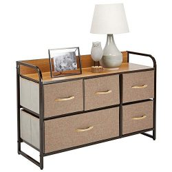 mDesign Wide Dresser Storage Chest, Sturdy Steel Frame, Wood Top, Easy Pull Fabric Bins –  ...