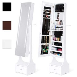 Best Choice Products Full Length Standing LED Mirrored Jewelry Makeup Storage Organizer Cabinet  ...