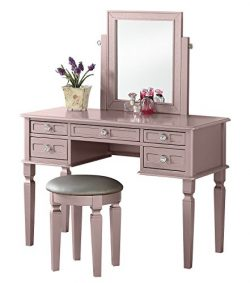 BOBKONA F4186 Vanity Table with Stool Set, Rose Gold