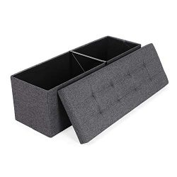 SONGMICS Folding Storage Ottoman Bench Storage Chest Foot Rest Stool with Metal Support, Holds u ...