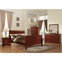 Acme Furniture Louis Philippe III 4-Piece Cherry Bedroom Set Queen