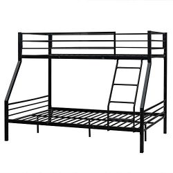 Bonnlo Bunk Bed Twin Over Full Sturdy Metal Bed Frame with Flat Ladder and Guardrail for Adults/ ...