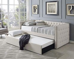 Best Master Furniture LT001 Laura Tufted Daybed + Trundle, Twin Bed, Beige