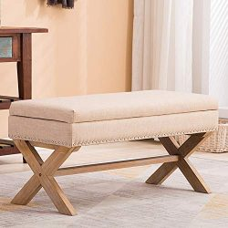 Upholstered Storage Benches, Fabric Bedroom Bench Ottoman with Nailhead and X-Shaped Legs for Pa ...