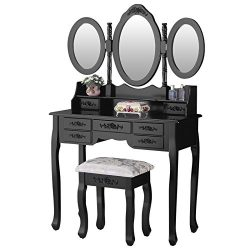 Mecor Vanity Set with Stool,Dressing Table with Tri-Folding Mirror Wood Vanity Makeup Table Set  ...