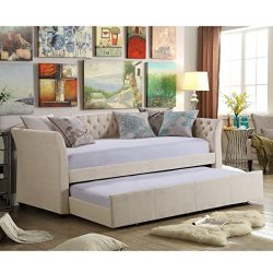 Rosevera Elsa Twin Size Daybed with Trundle, Beige