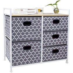 Wide Dresser Storage Tower 5 Drawer Chest, Sturdy Steel Frame, Wood Top, Easy Pull Fabric Bins,O ...