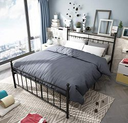 Metal Bed Frame Queen Size with black ball Headboard and Footboard The country style Iron-Art Do ...