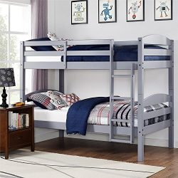Better Homes and Gardens* Converts to 2 Stand-Alone Twin Over Twin Wood Bunk Bed (Bed Only) in Gray