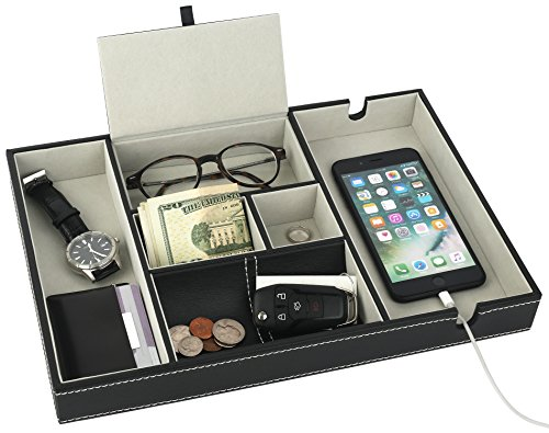 Mantello Valet Tray Nightstand Organizer Charging Station Leather 6 Compartments, Black, Large