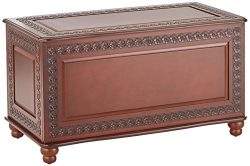 Cedar Chest with Carving and Bun Feet Deep Tobacco