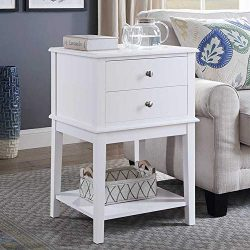 Coniffer End Table Modern Night Stand with Drawer and Storage Shelf White Wood Side Table for Li ...