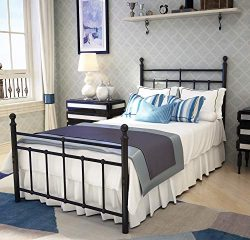 Metal Bed Frame Twin Size with Vintage Headboard and Footboard Platform Base Wrought Iron Twin S ...