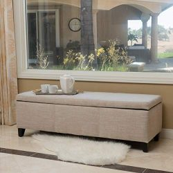 Christopher Knight Home 298339 Living Sarelia Bench Storage Ottoman (Light Beige),