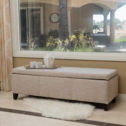 Christopher Knight Home 298339 Living Sarelia Bench Storage Ottoman (Light Beige),